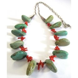 Collier Vintage Navajo - 100% Argent .925, Mine Royston Turquoise & Coral rouge