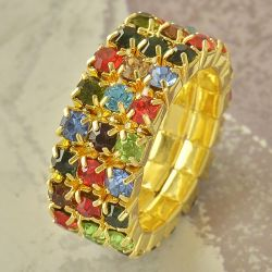 Bague stretch - Taille 7 - Plaqué or 9Ct. - Zirconium multicolor