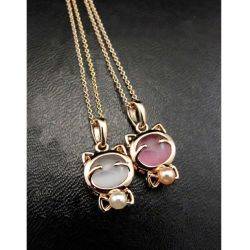 Collier petit chat rose ou blanc, doré, souriant