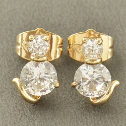 Plaqué or 9Ct. CHAT - Boucles d'oreilles CHAT strass Zirconia